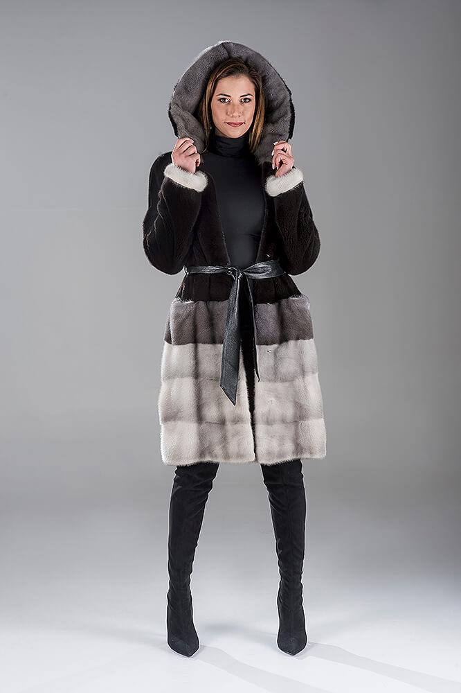 Full Skin Black Nafa with Saphire Mink Coat