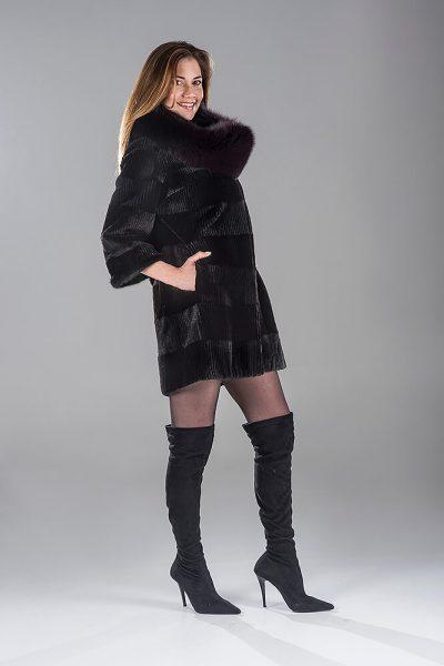 Black Laser Sheared Beaver Jacket