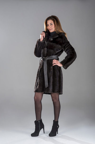 Full Skin Black Diamond Laser Mink Coat