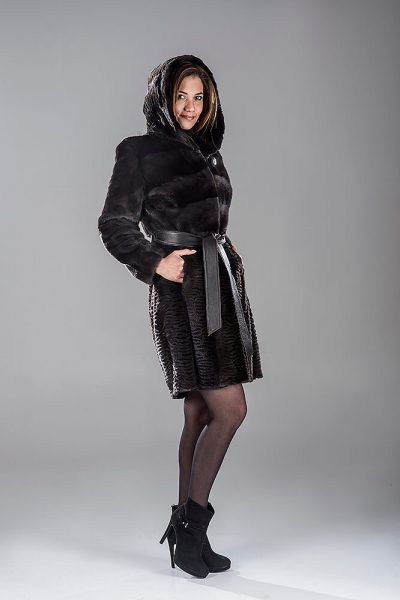 Full Skin Black Diamond Laser Mink Coat