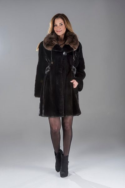 Full Skin Black Nafa Mink Coat with Sable Collar