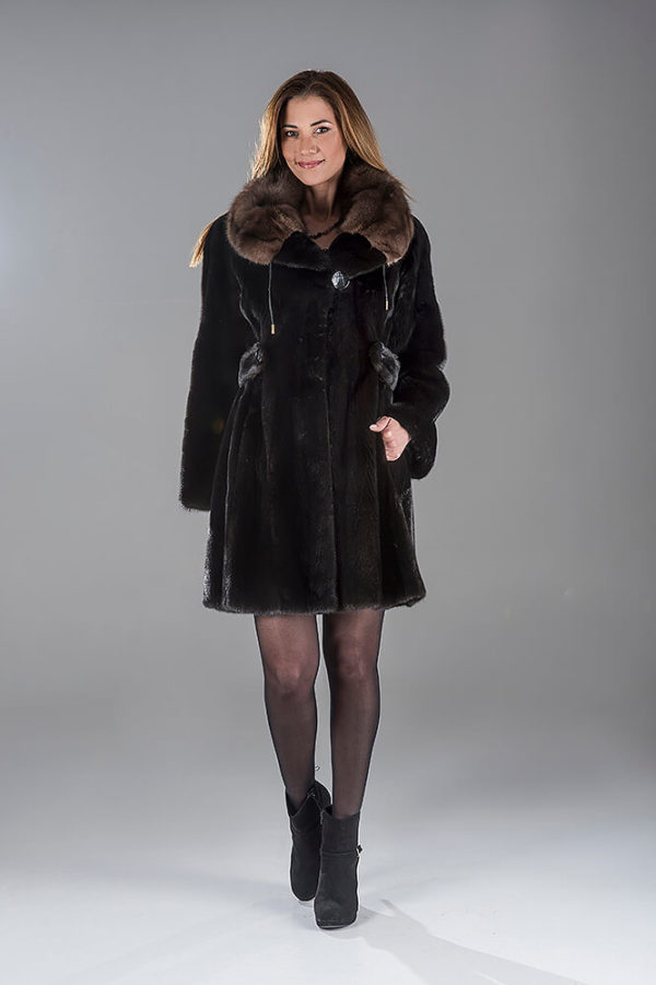 Full Skin Black Nafa Mink Coat with Sable Collar