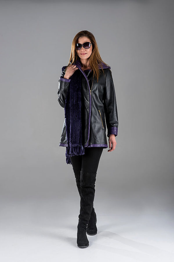 Black Lambskin Leather Jacket with Purple Rabbit Knitting Shawl