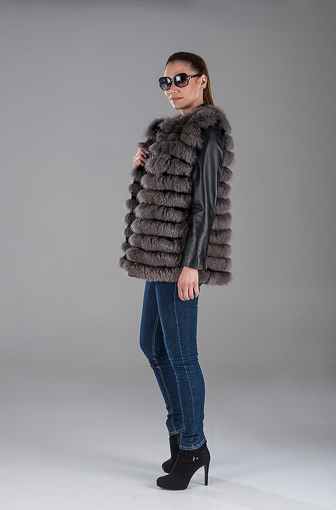 Full Skin Blue-Grey Fox Gillet(Vest) - Black Lambskin Leather Jacket