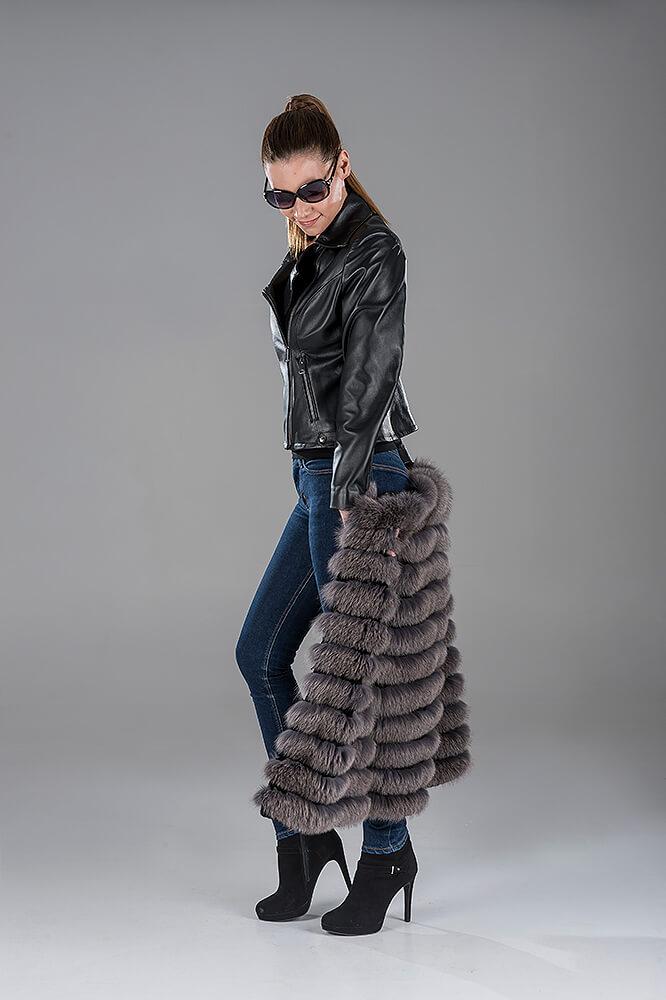 Full Skin Blue-Grey Fox Gillet(Vest) - Black Lambskin Leather Jacket