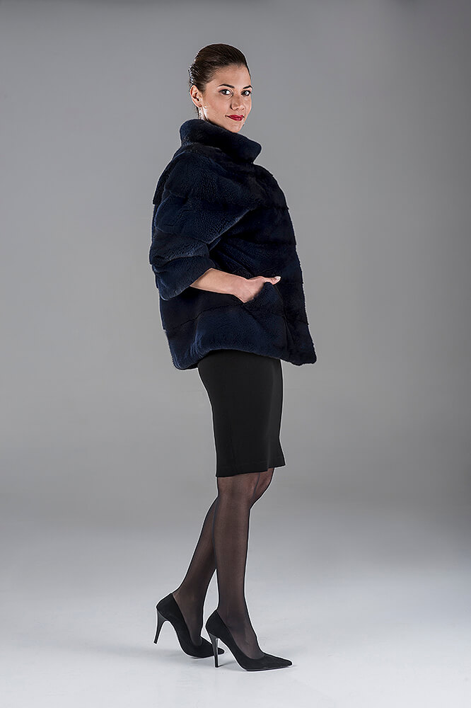 Full Skin Dark Blue Sheared Mink Bolero