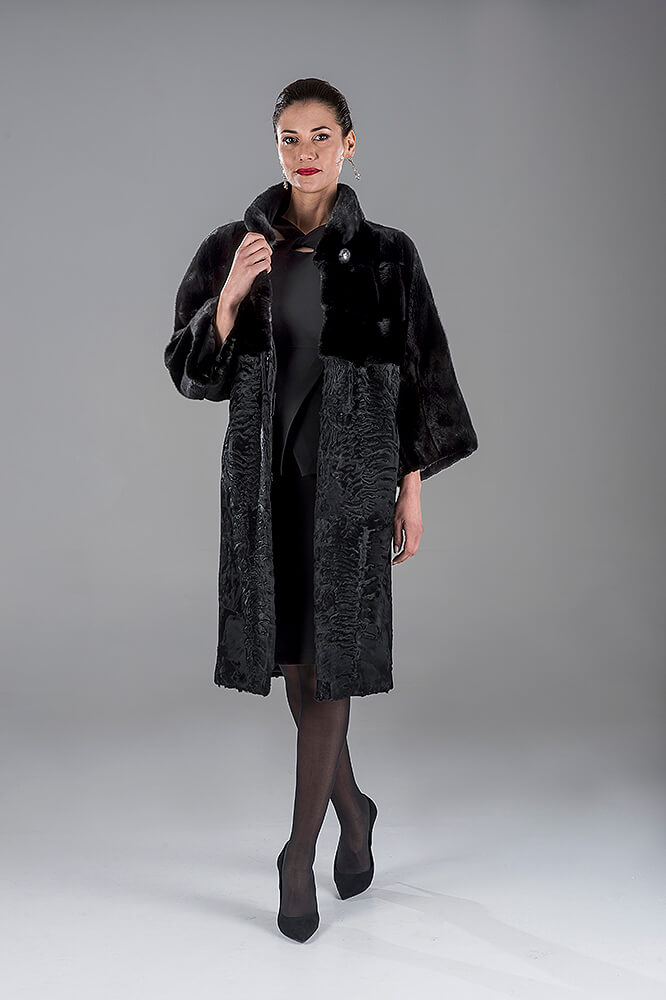 Full Skin Black Mink with Swakara Coat