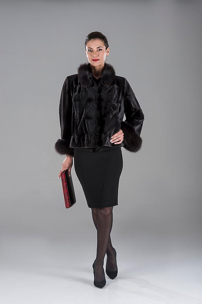 Full Skin Black Jap. Mink Jacket with Fox Trimming
