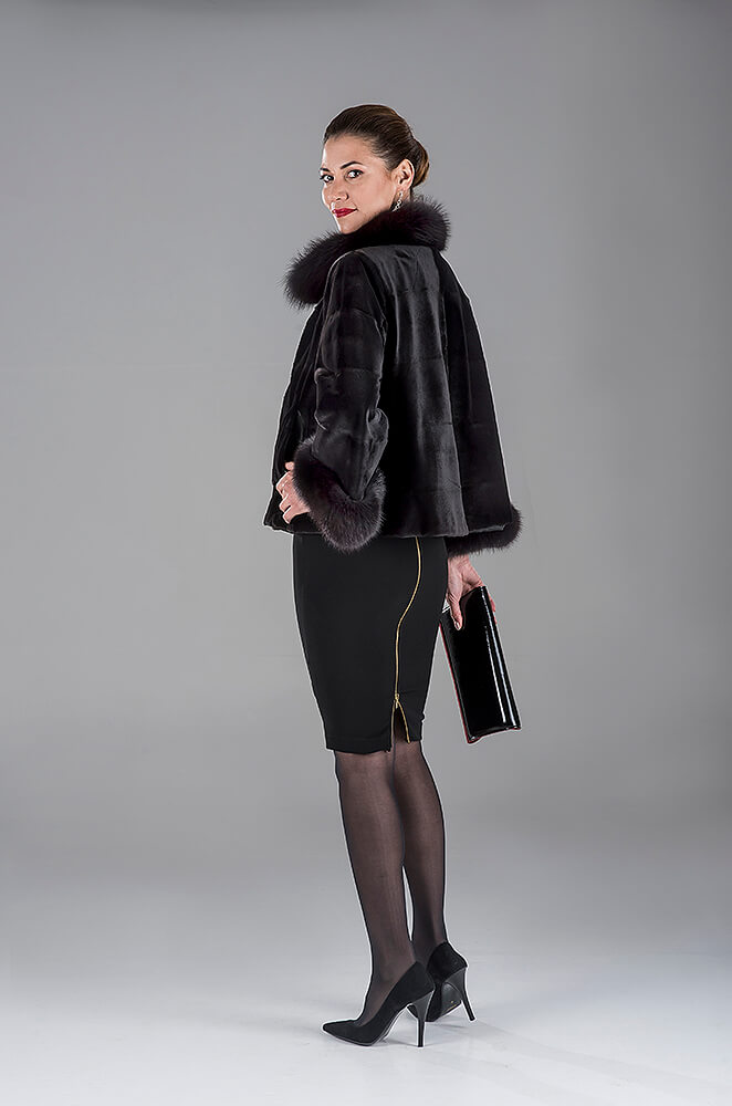 Full Skin Black Jap. Mink Jacket with Fox Trimming