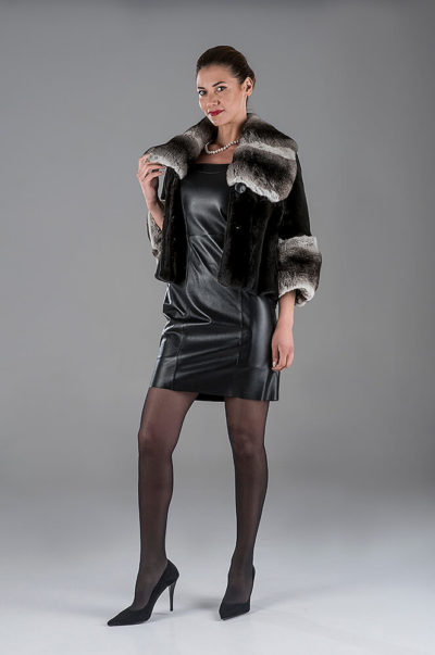 Full Skin Black Jap.Mink with Chinchilla Bolero- Black Lambskin Leather Dress