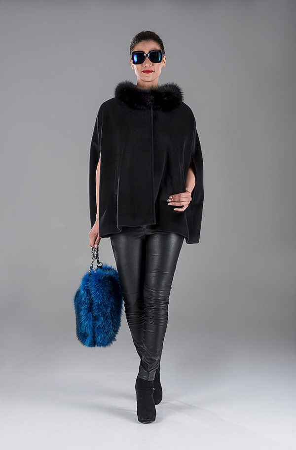 Black Cashmere Cape with Fox