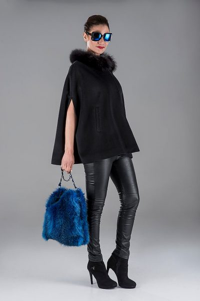 Black Cashmere Cape with Fox