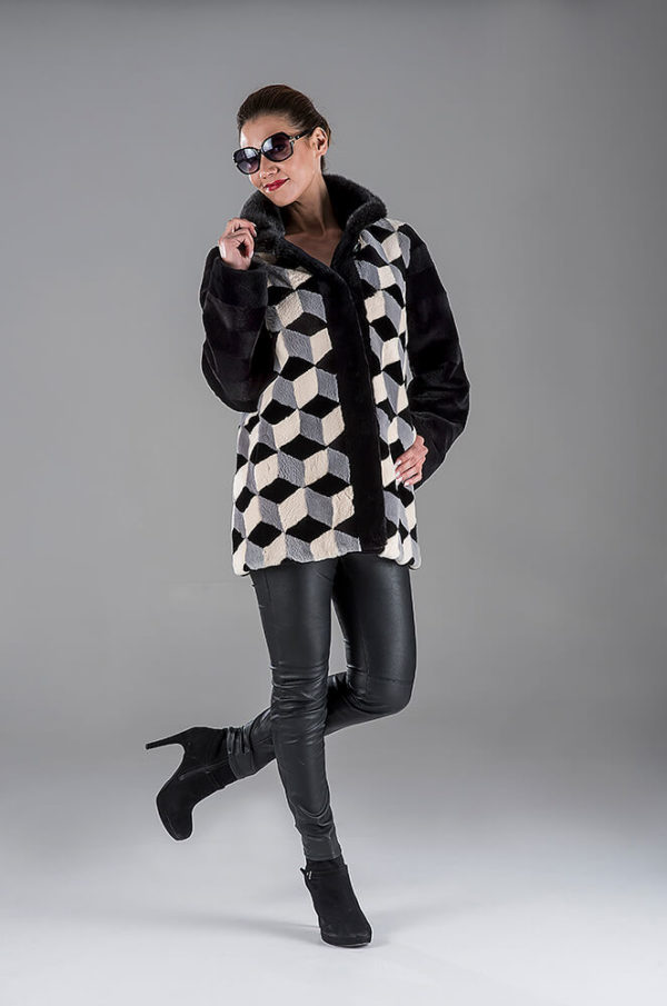 Black-Grey-White Sheared Beaver Jacket