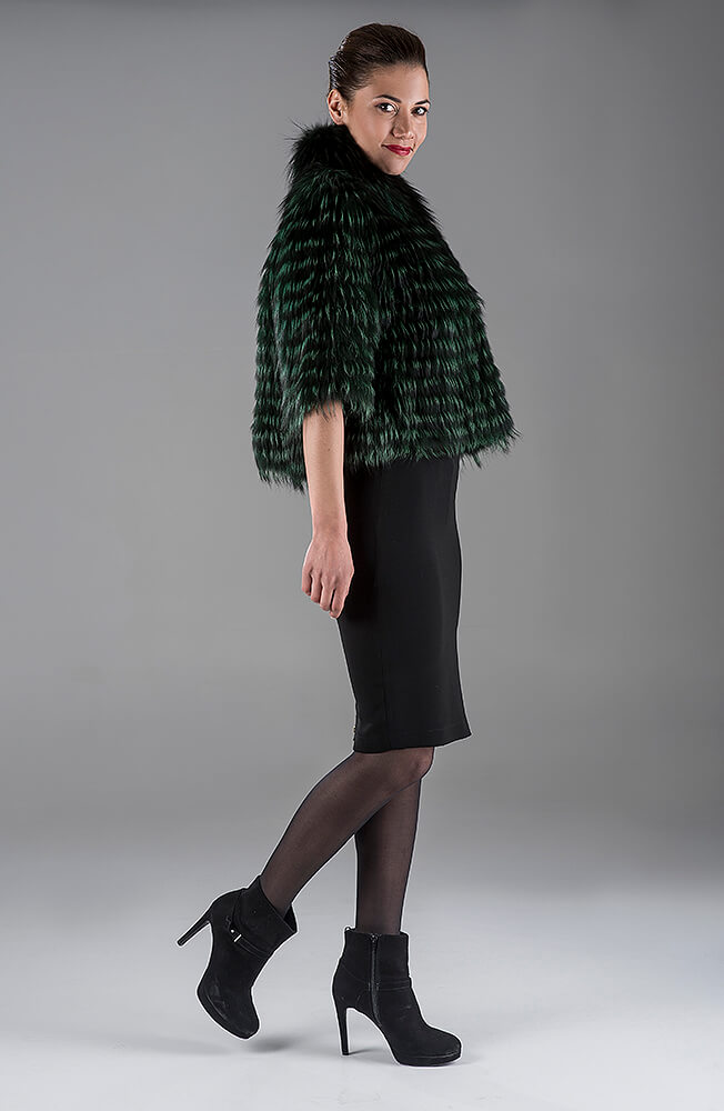 Green Fox with Knitting Bolero