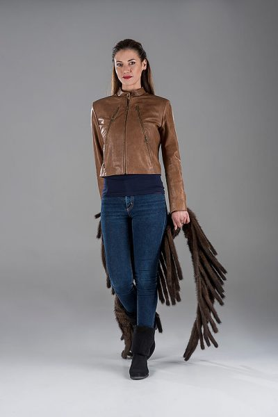 Camel Lambskin Leather Jacket- Mink Knitting Shawl