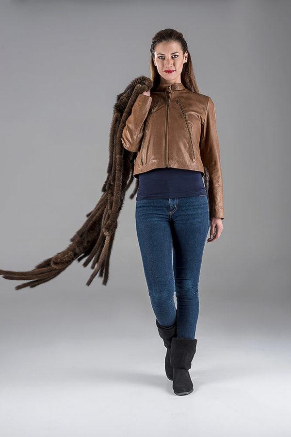 Camel Lambskin Leather Jacket- Mink Knitting Shawl