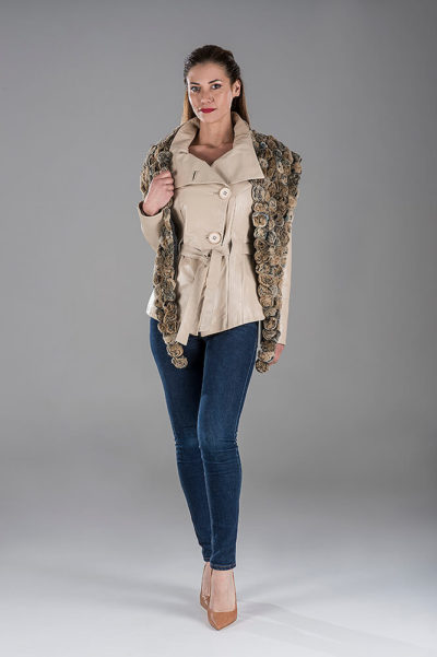 Beige Lambskin Leather Jacket with Rex Scarf