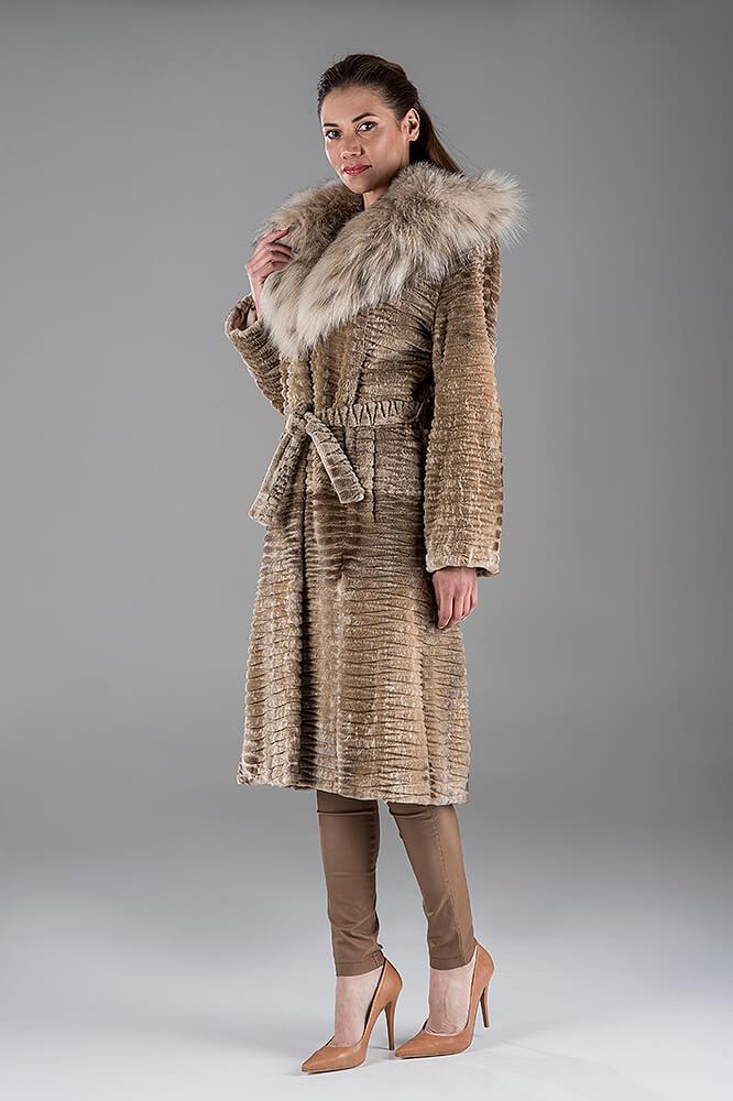 Full Skin Dawn Saga Laser Mink Coat with Lynx