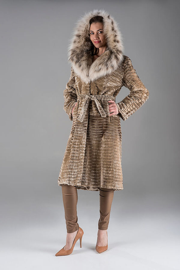 Full Skin Dawn Saga Laser Mink Coat with Lynx