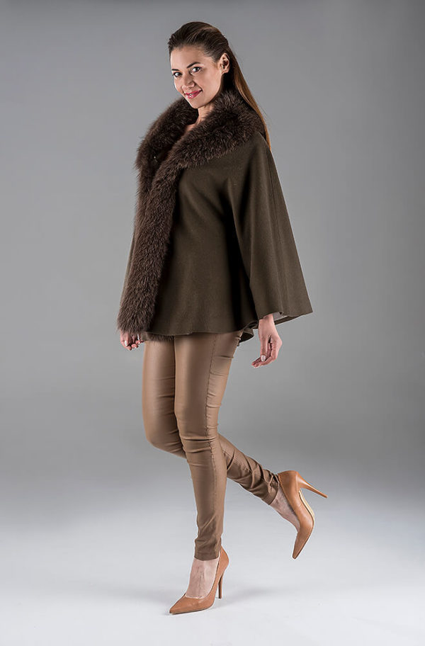 Brown Cashmere Cape with Fox