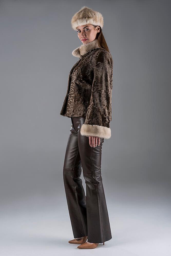 Light Brown Swakara Jacket with Palomino Mink hat