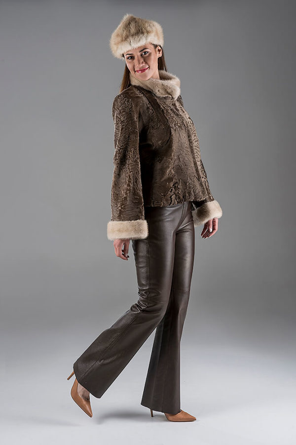 Light Brown Swakara Jacket with Palomino Mink hat
